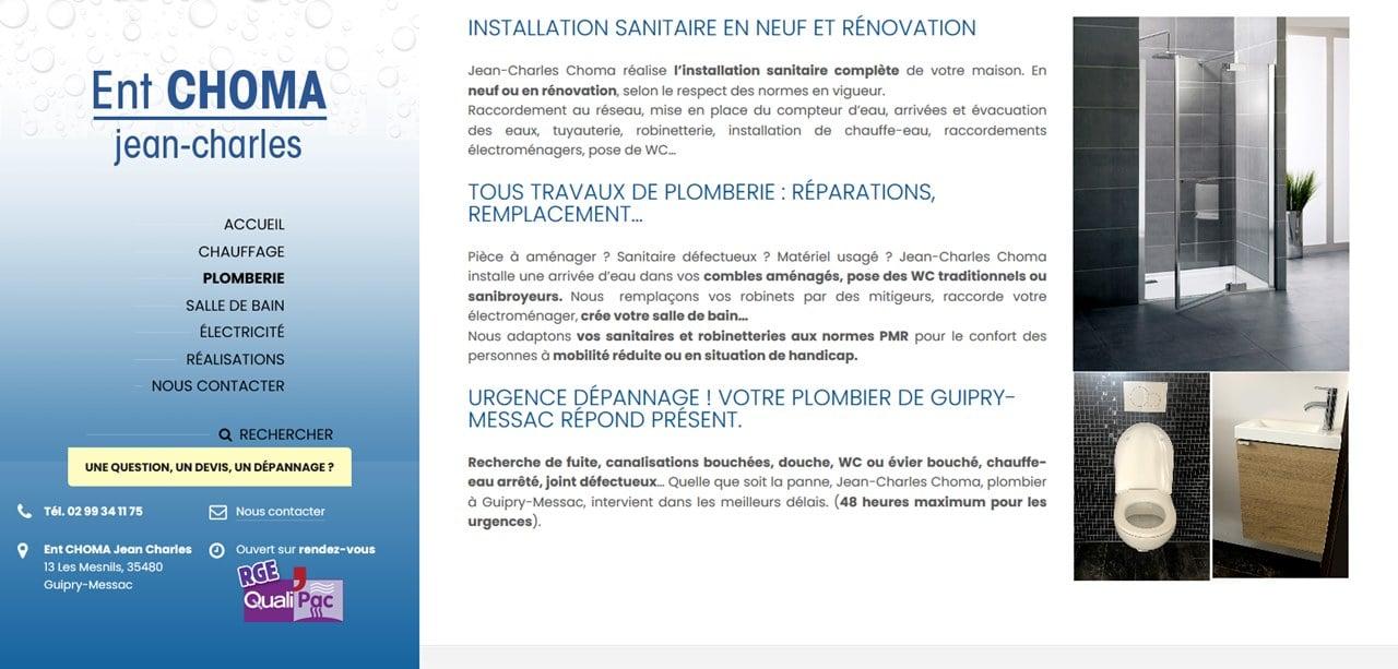 Création site internet Plombier